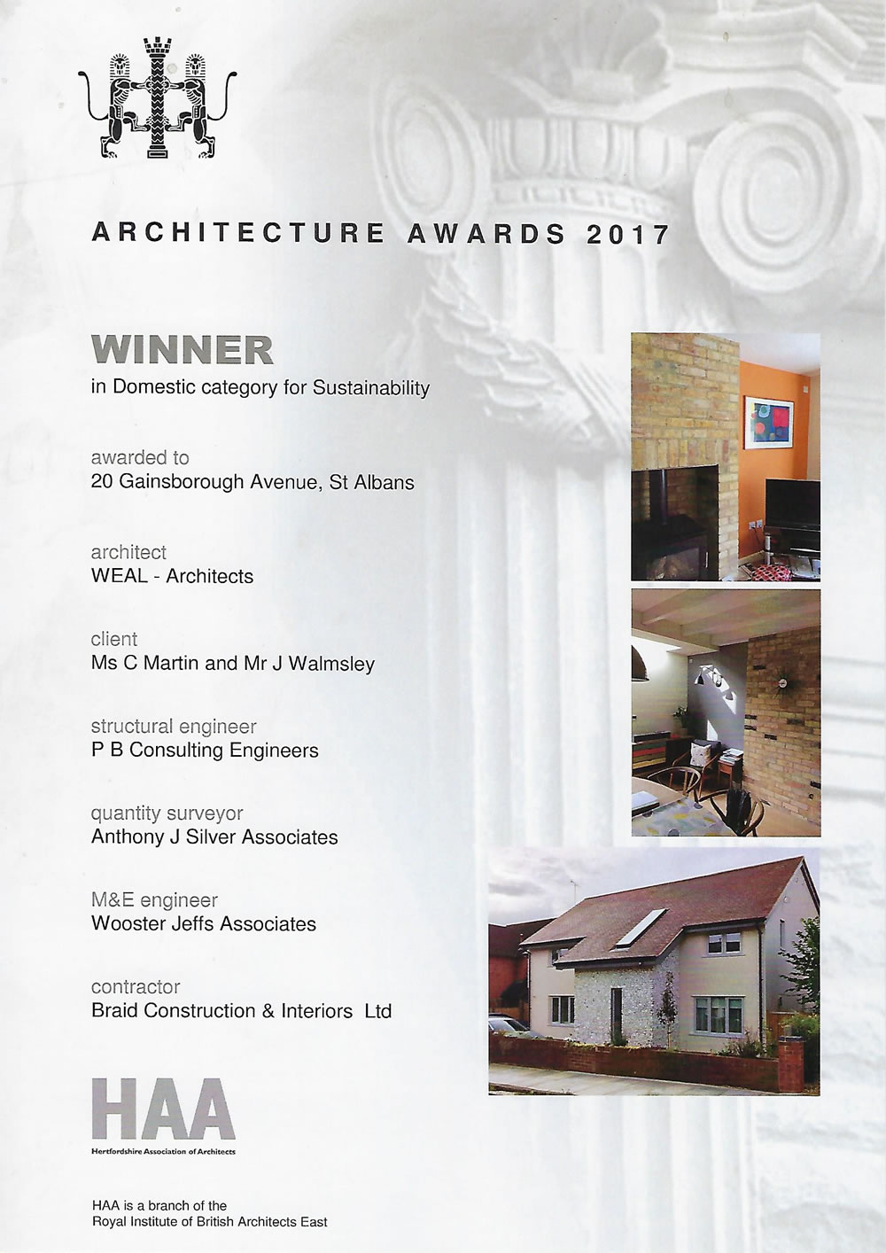 HAA - Architecture Awards 2017 - Sustainability